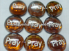 Pray Engraved Glass Beads Stones With Logo For Promotional Gift