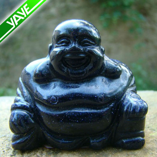 Tiger eye gemstone hand carved happy laughing buddha statues 2.5''