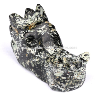 The fireworks stone skull dragon head carving