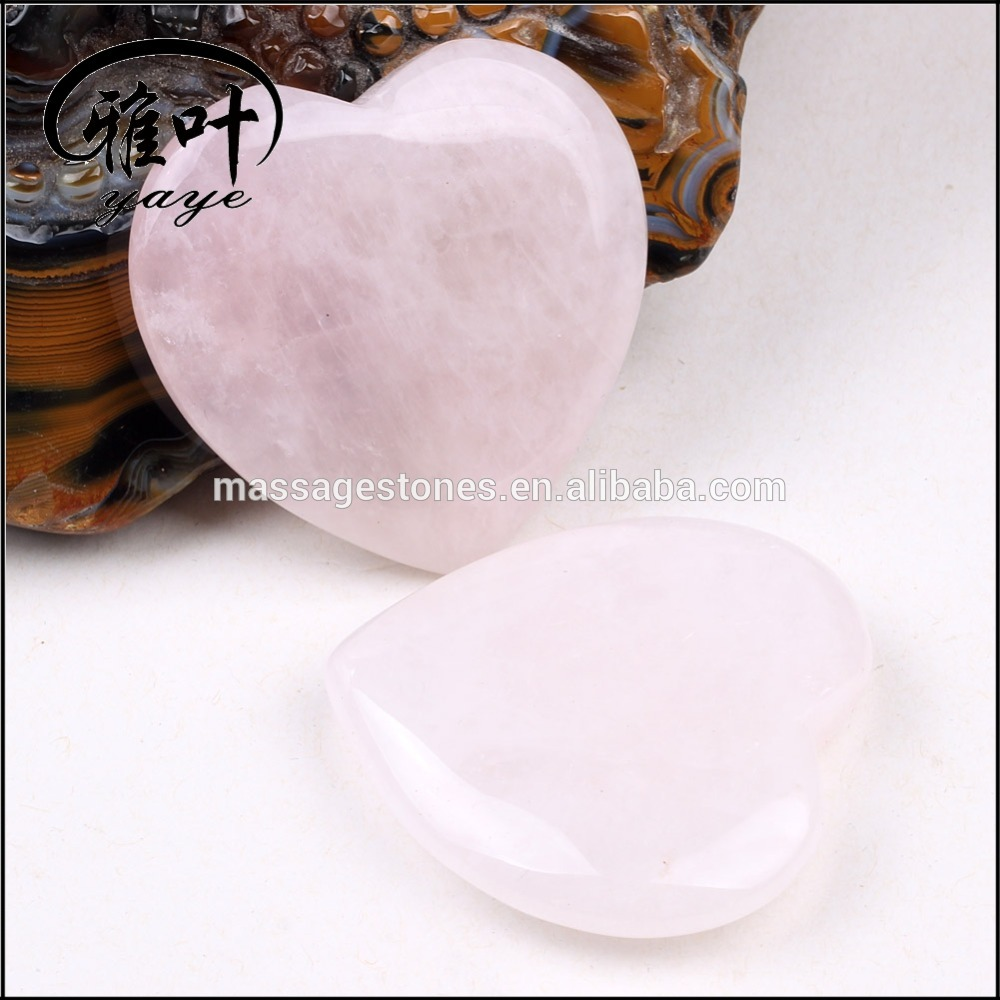 Rose Quartz Heart Hand Carved Rock Quartz Heart for Wedding Decoration