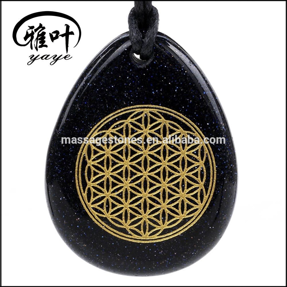 Natural Stone Engraved Flower of Life Chakra Pendant/Necklace