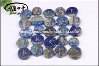 Wholesale Natural Lapis Lazuli Engraved Reiki Augury Rock Rune Stones for Divination Gift