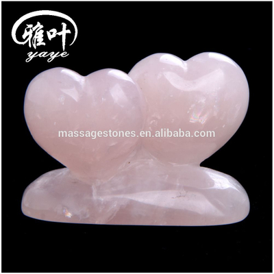 3inch Pink Natural Rose Quartz Double Heart For Wedding Decoration&Gifts