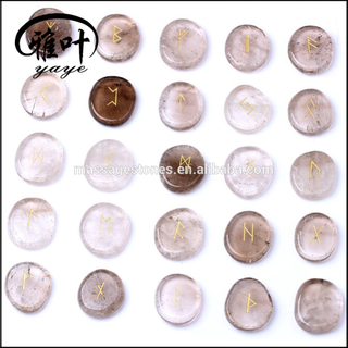 Wholesale somky quartz engraved disc rune stone set