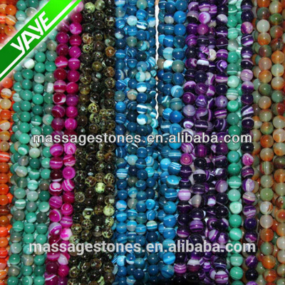 Mixed Agate Natural Gemstone 6mm faceted round beads