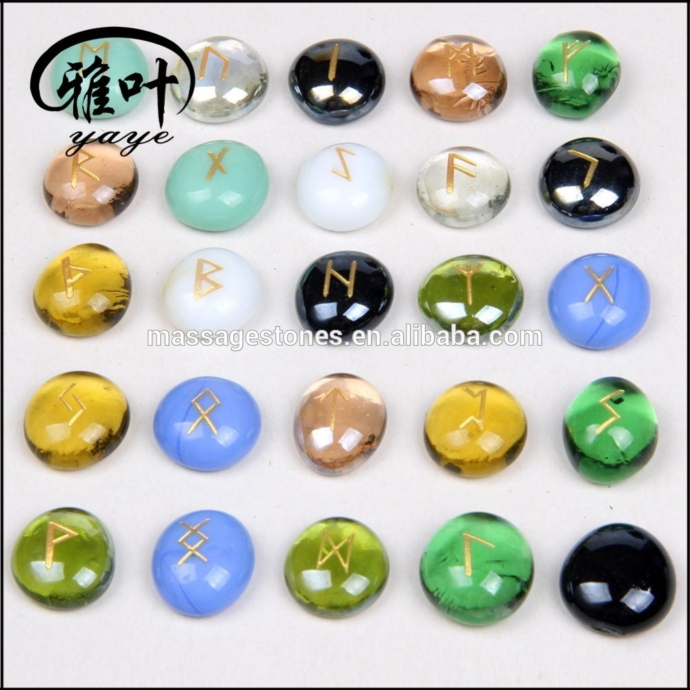 Wholesale Glass Stones Engraved Runes Chakra Glass Stone
