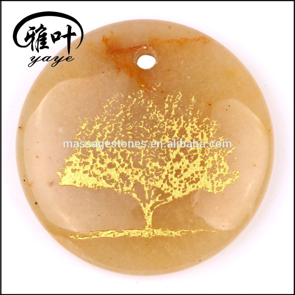 Natural Yellow Jade Engraved Tree of Life Round Pendant