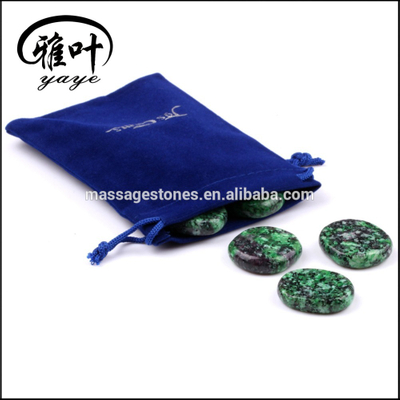 Natural Ruby&Zoisite Palm Stones with Velvet Pouch Bag