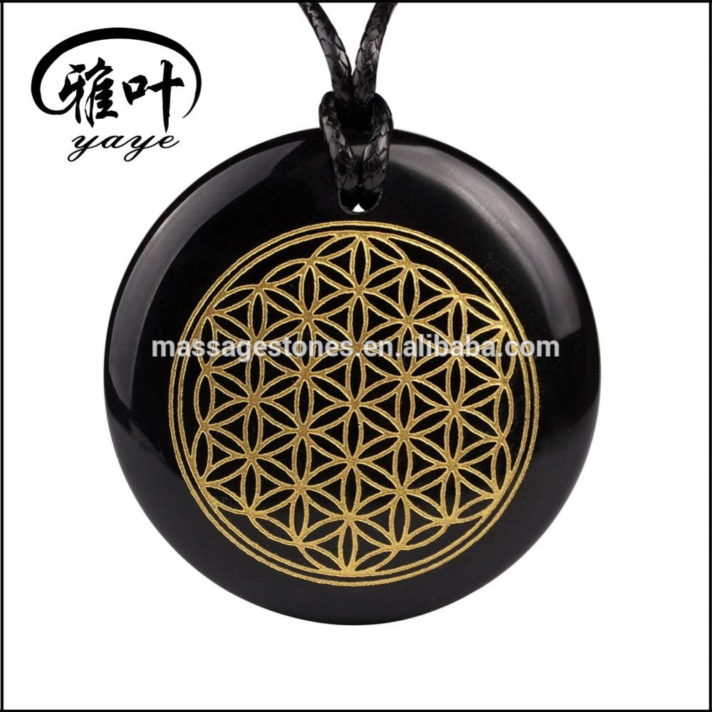 Engraved gold flower of life stone pendant necklace