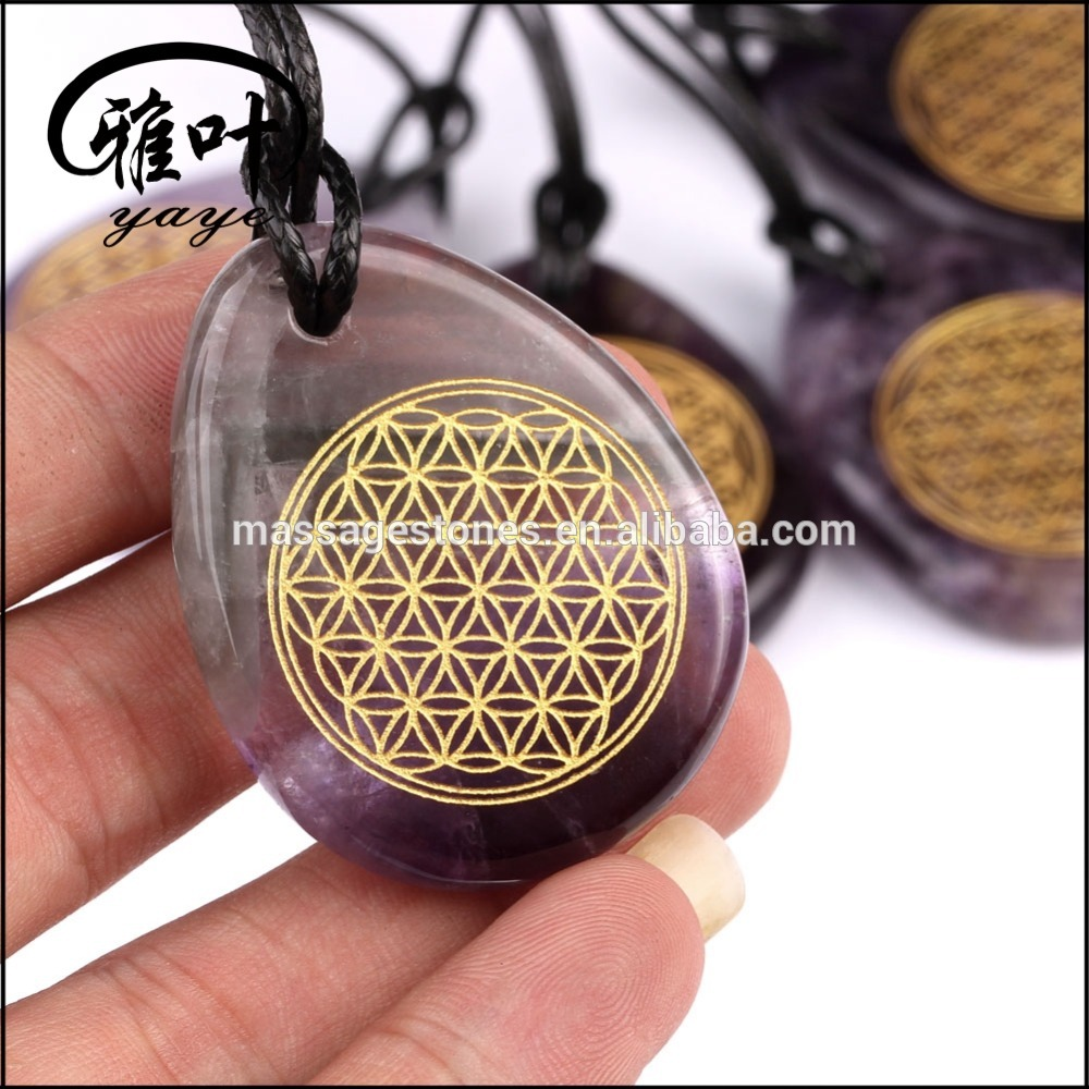 Natrual Gemstones Drop Pendants Flower of Life