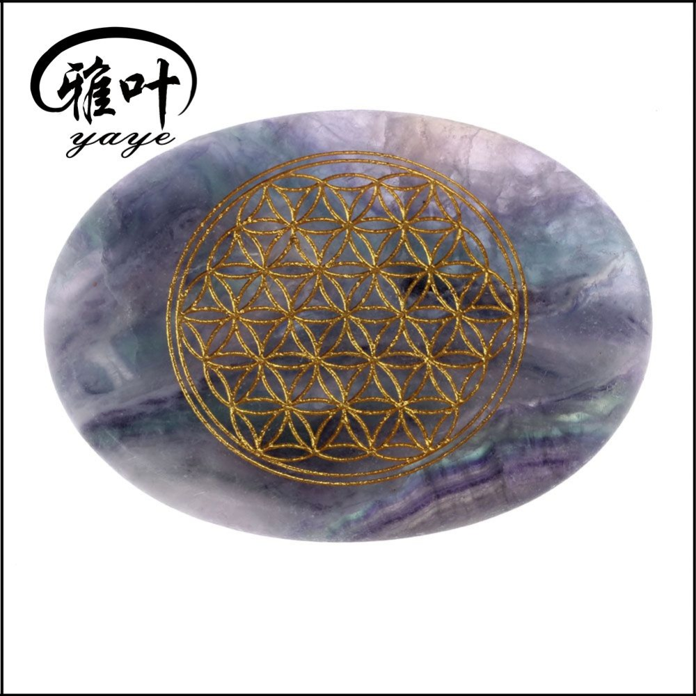 Natural Rainbow Fluorite Engraved Flower of Life Palm Stone