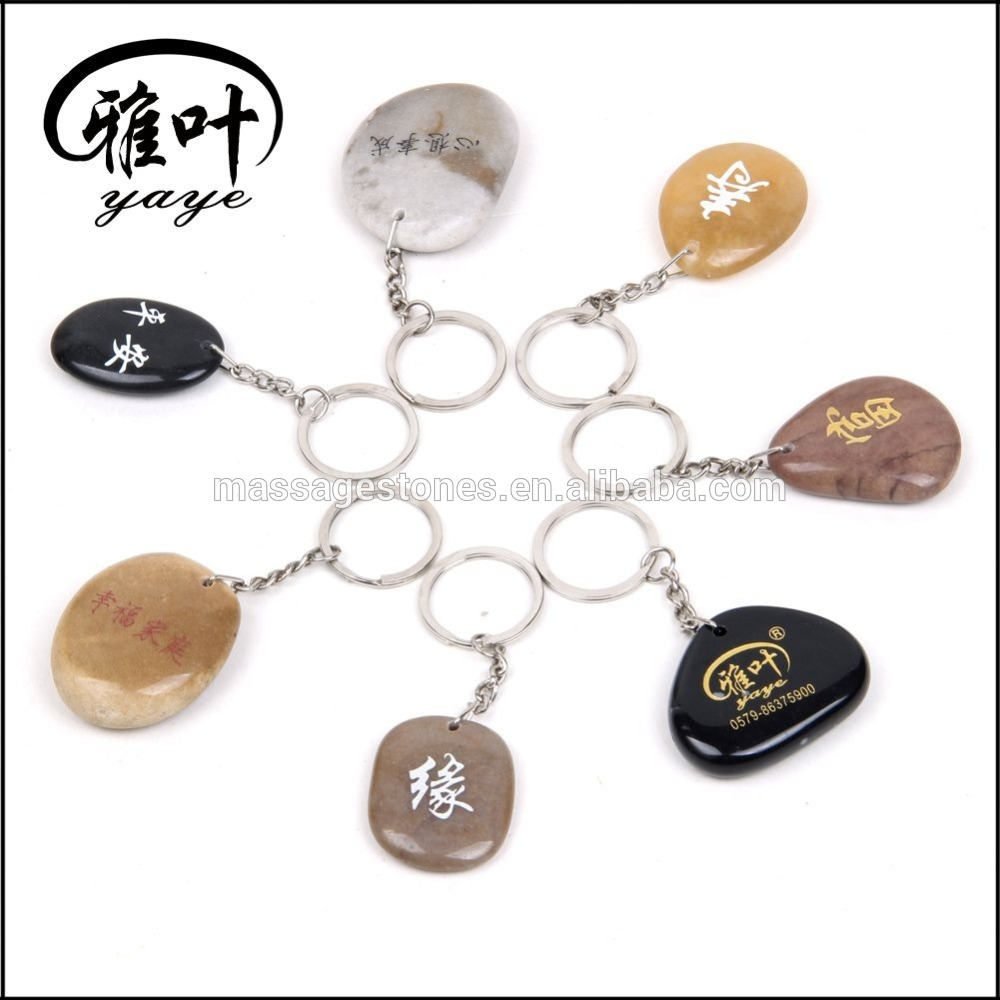 Wholesale Natural River Rock Engraved Stones Keychains