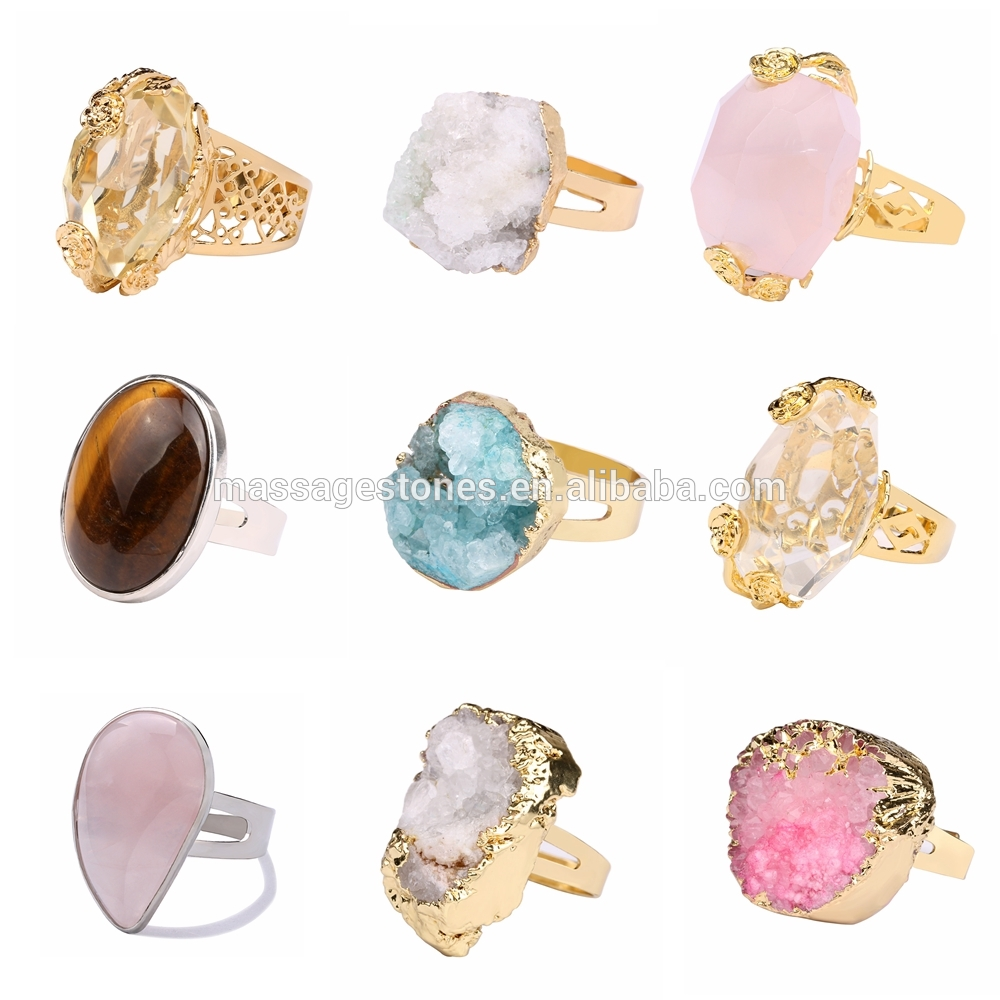 Natural Rose Quartz Rings Geode Unpolished Pink Geode