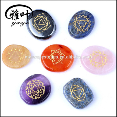 Wholesale Palm Stones 7 Chakra Stone Set with sign