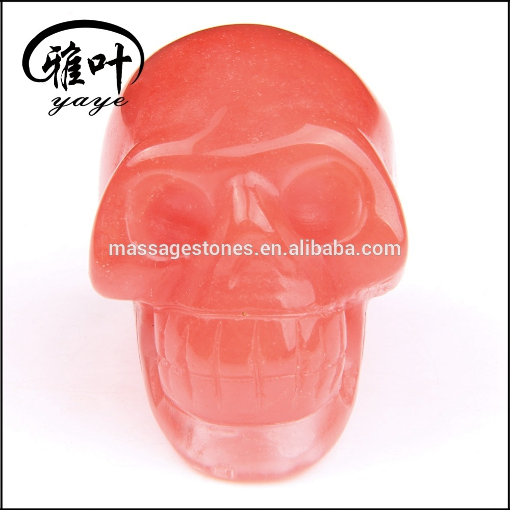 Wholesale cherry quartz crystal skull head charm