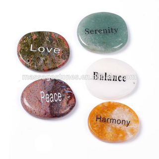 Engraved pebbles words semi-precious stone for promotional gifts