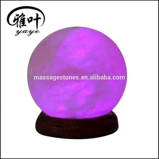 USB Round shape Natural Rock Salt Lamp with seven color light