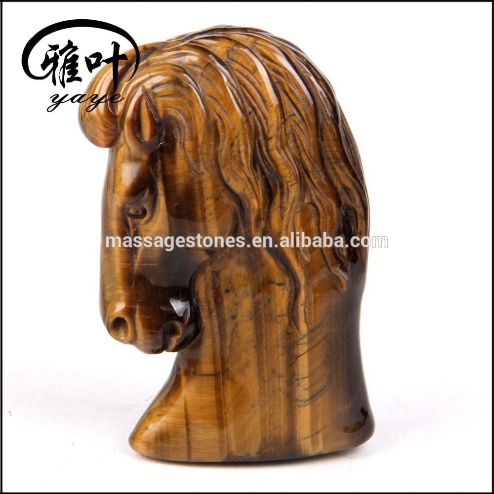 Natural Yellow Tiger Eye Horse Head Carving for Decoration