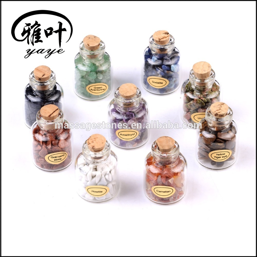 Natural Gemstone Collection Chip Stone Bottle Set