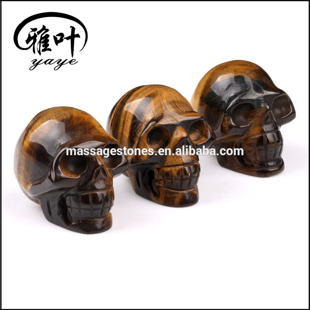 Wholesale carved natural Yellow tiger eye decoration skull
