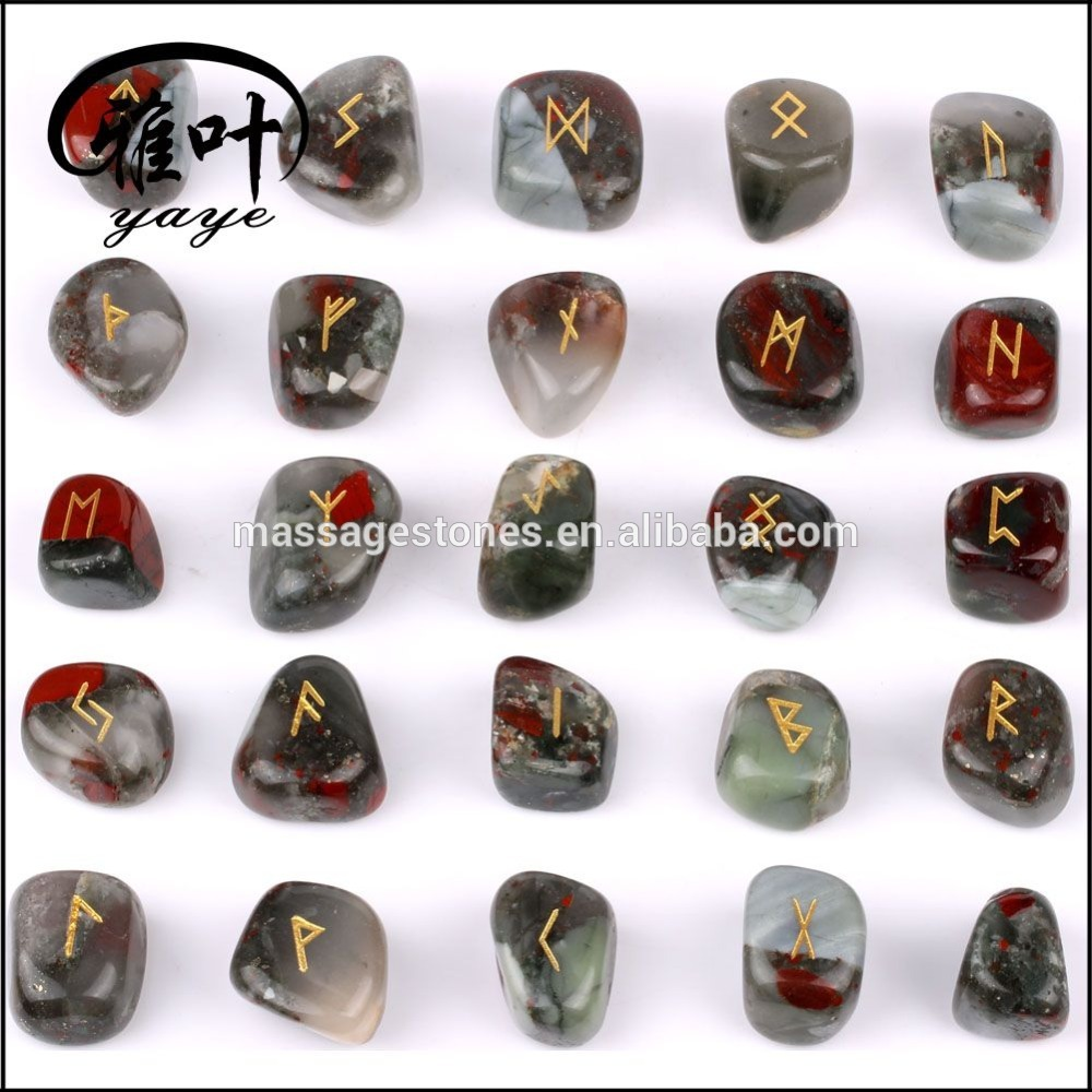 Wholesale Engraved Rune Tumbled Stone Set