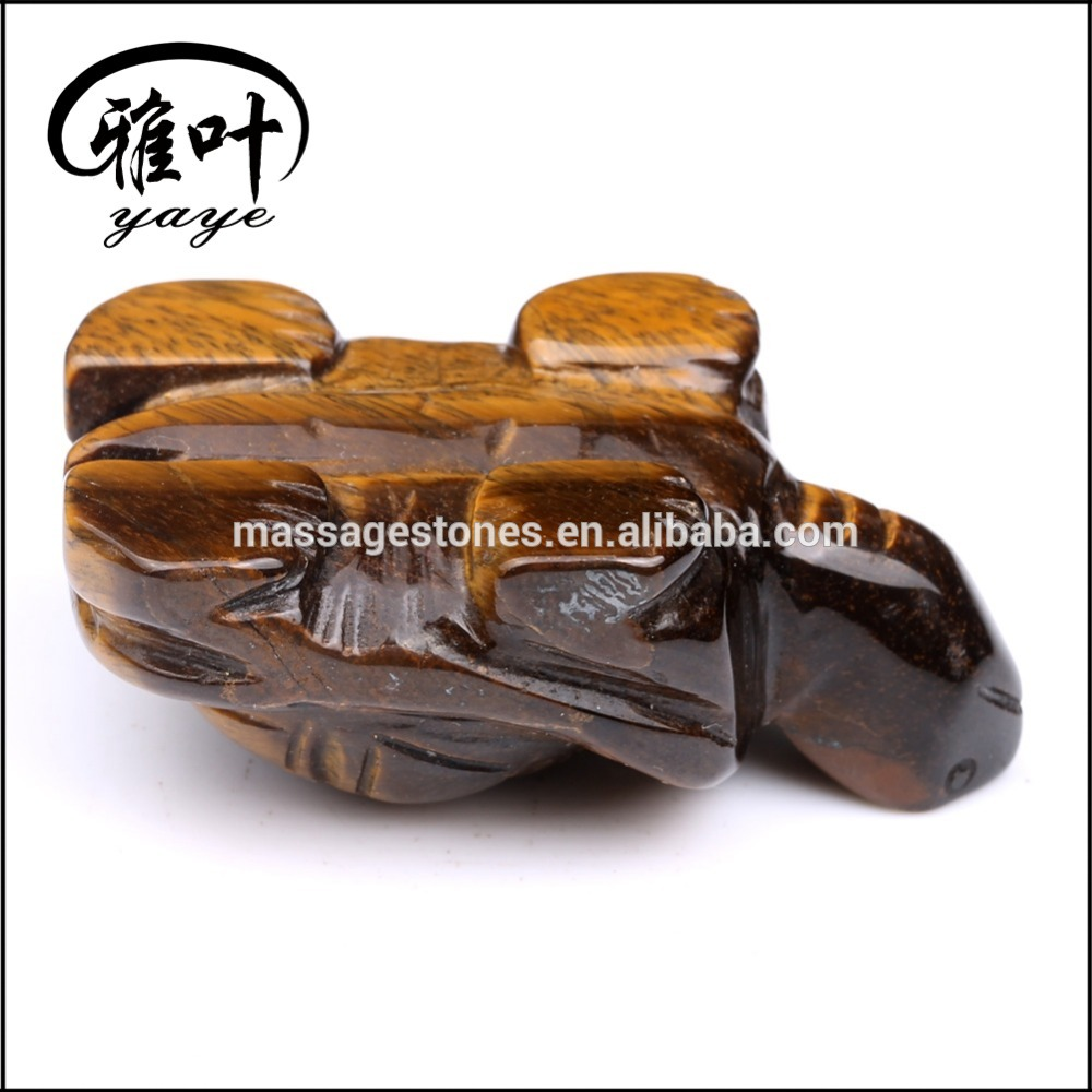 Wholesale Yellow Tiger Eye Hand Carved decoration turtles