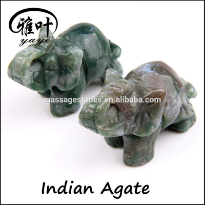 Hand carved Indian agate stone animal Elephant Figurines for home decoration