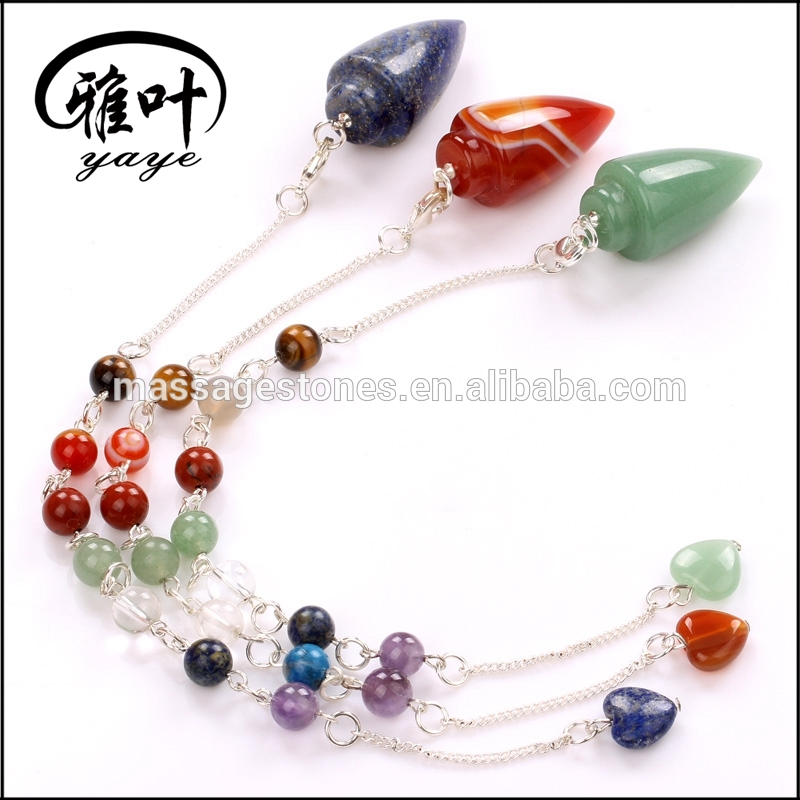 Natural Crystal Stones Healing Bullet Shaped Pendulums