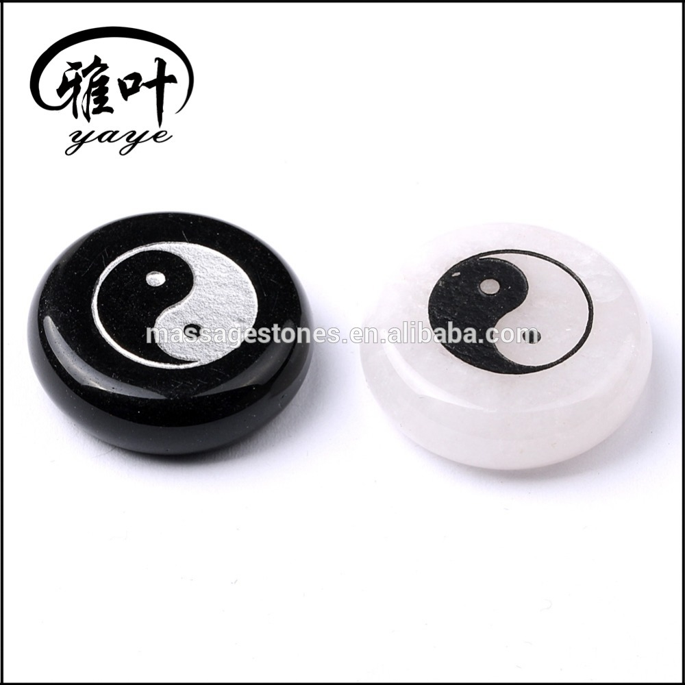Natural Gems Stones Engraved with Yin Yang Stones