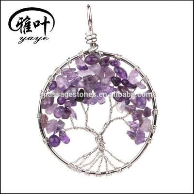 Tree of Life Charm Pendants/Natural Amethyst Chips Stones