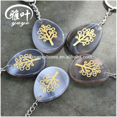 Natural Grey Agate Tree of Life Teardrop Keychains