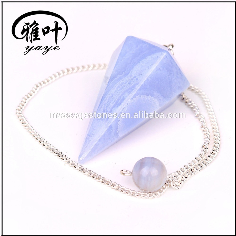 Wholesale Blue Lace agate /gemstone /Semi-precious / quartz crystal dowsing pendulum