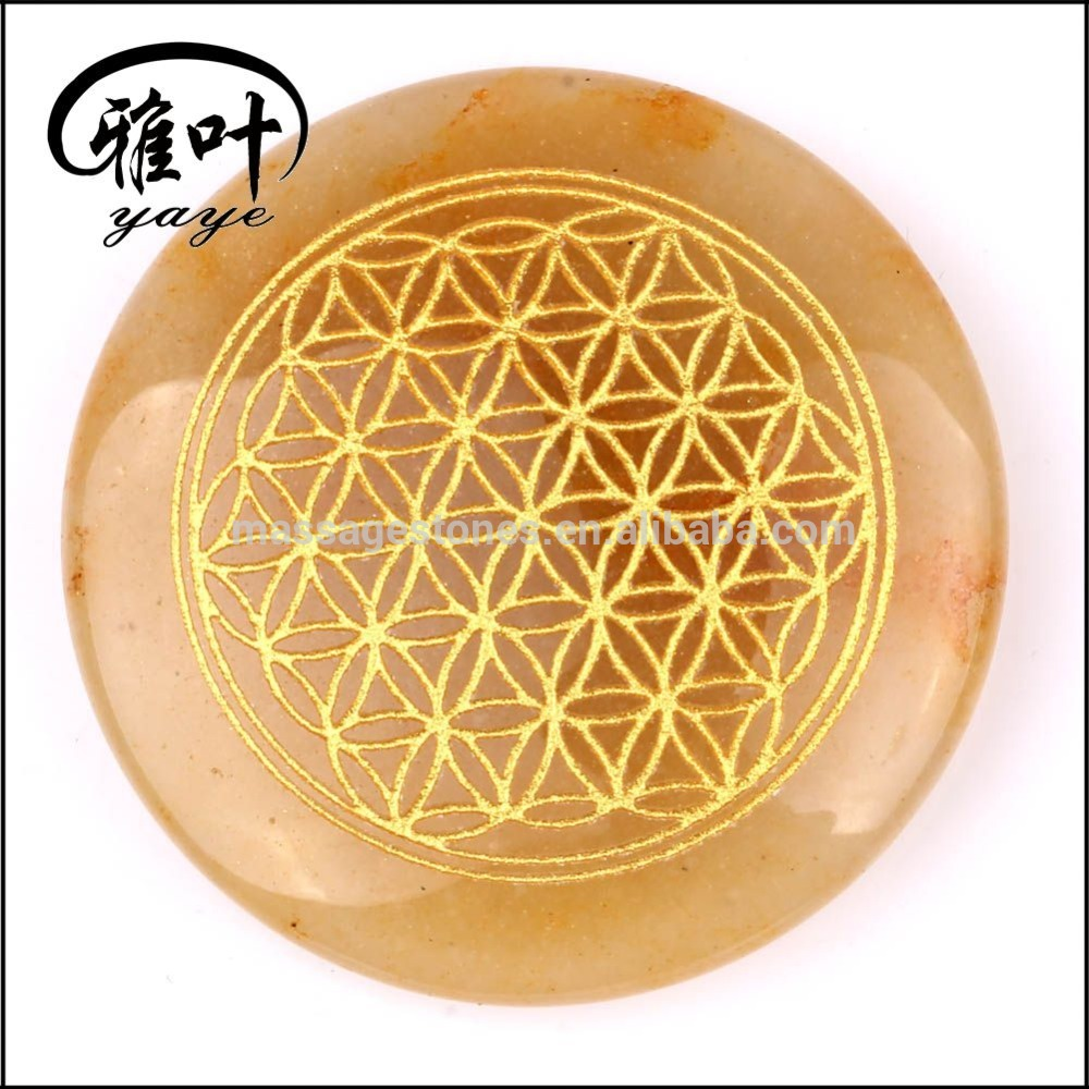Wholesale Engraved Assorted Crystal Gemstone Flower of Life Pocket Stone for Sale