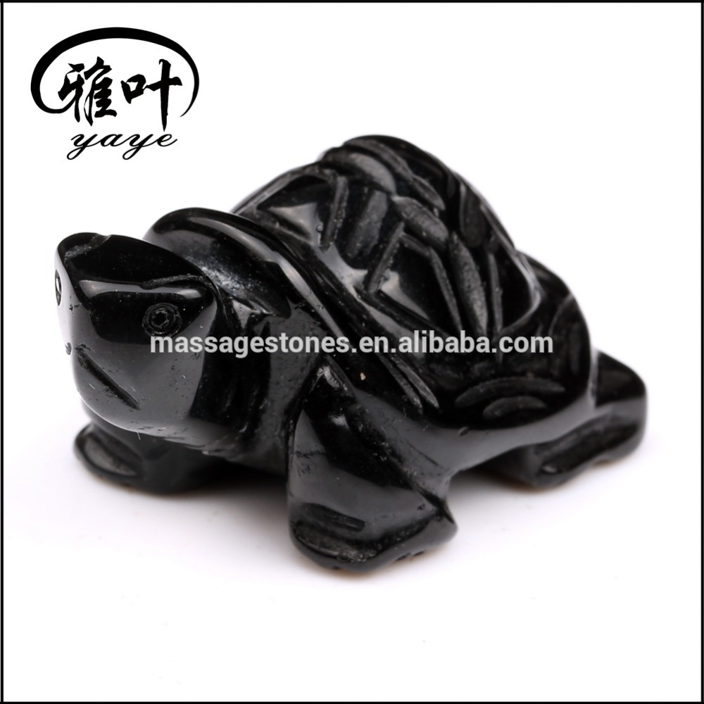 Wholesale Black Obsidian Hand Carved Animal figures carving turtles