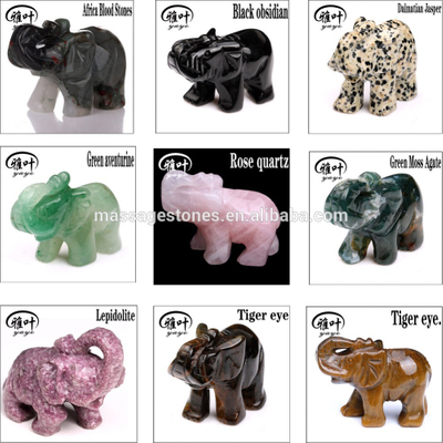Wholesale Hand Carved Gemstones Elephant Figurines semi-precious animal figurines