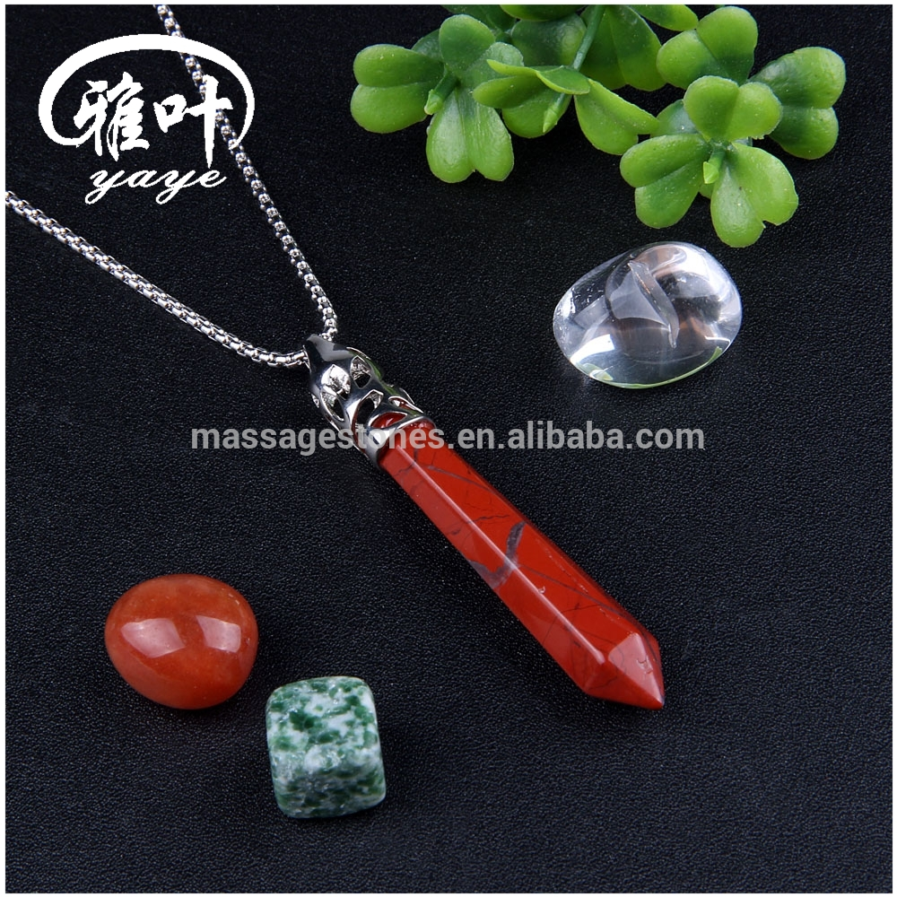 Natural Gemstone Points Pendant Red Jasper Crystal Point for Wholesale