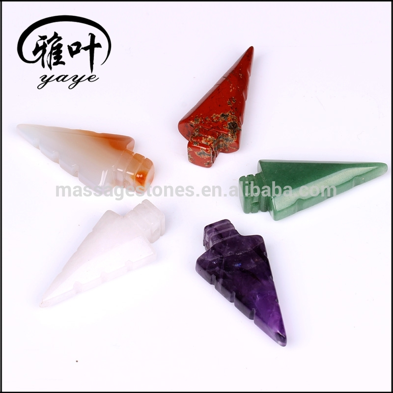 Wholesale Natural Gemstone Arrowhead Necklace Jade Arrowhead Pendant for Gift