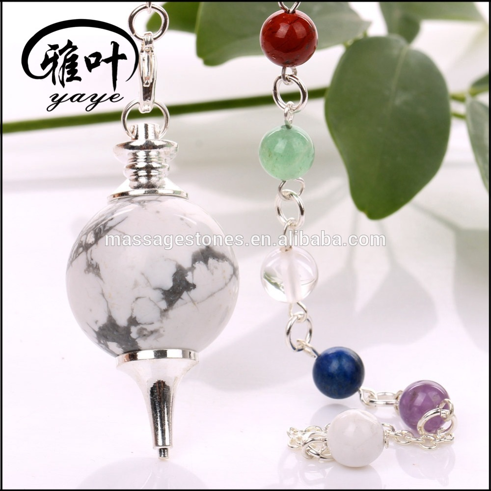 Natural Howlite dowsing pendulum gemstone sphere chakra chain for gifts