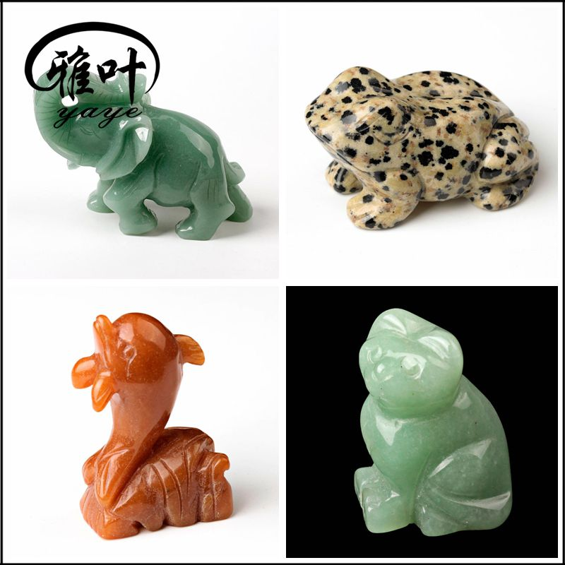 Wholesale natural semi precious stones 2inch Animal Carving