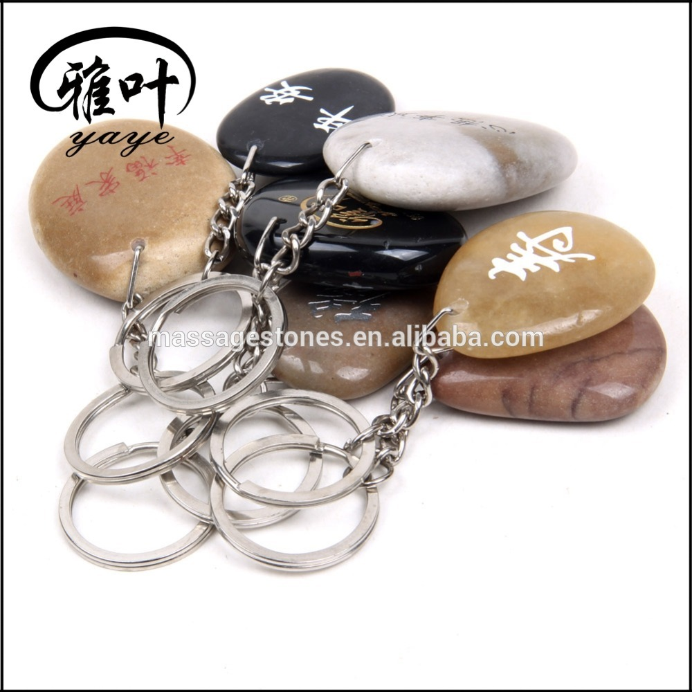 Assorted Color Natural Stones River Rock Keychains