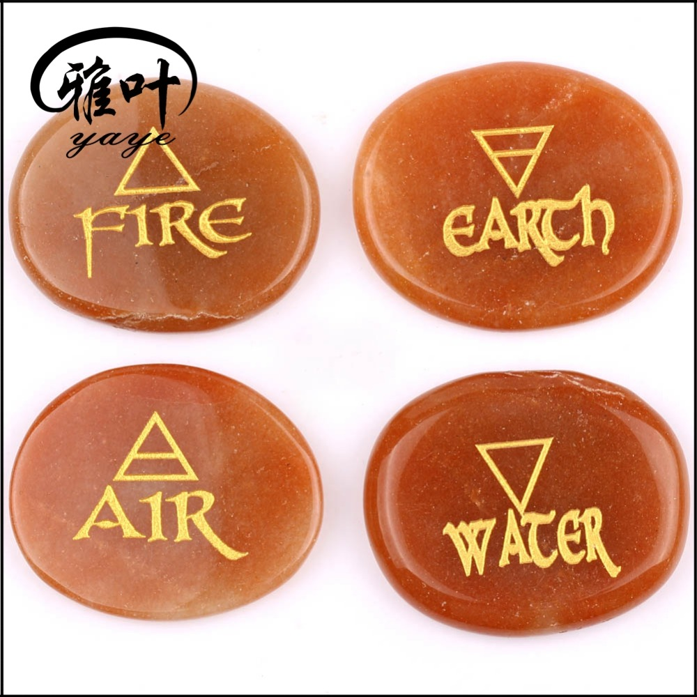 Semi-Precious Stones Engraved Clear Crystal Quarz Engraved Fire/Earth/Air/Water for Sale