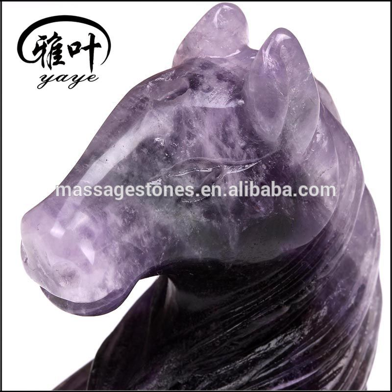 Bulk Customized Hand Carved Amethyst Unicorn Statue Nature Crystal Animal Carving for Decoration & Gift