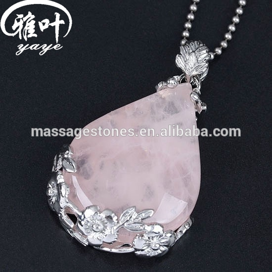 Natural Rose Quartz Crystal Reiki Healing Nice Pendant for wholesale