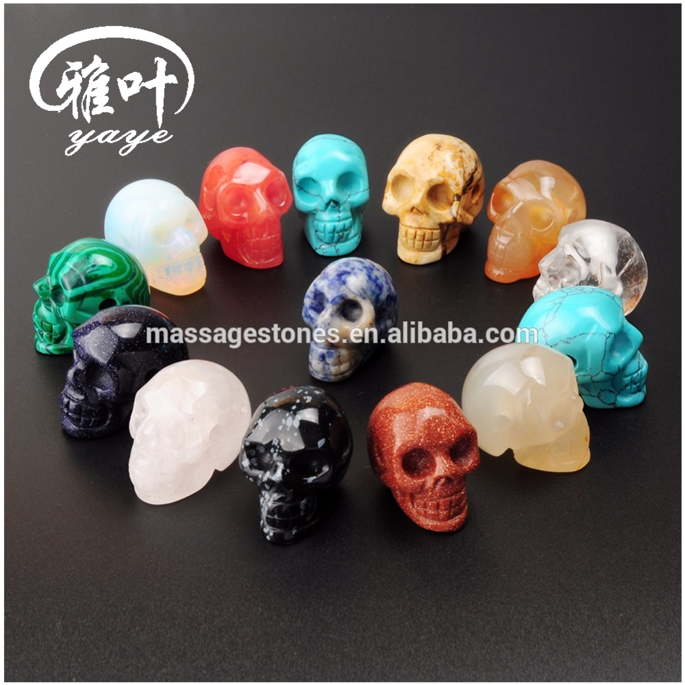 Natural Mixed Color Gemstones Skull Carvings