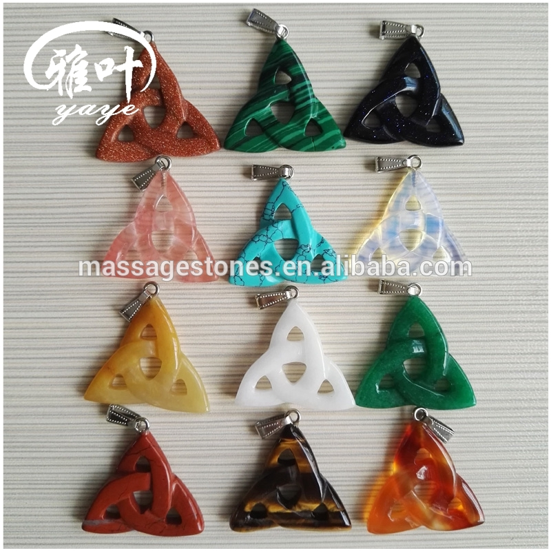 Triangle Pendant Carving Natural Stone Pendants Celtic Symbols Pendants