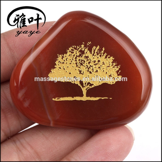 Wholesale Carnelian Engraved Tree of Life Palm Tumbled Stone