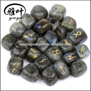 Engraved Labradorite Tumbled Stone Rune Set