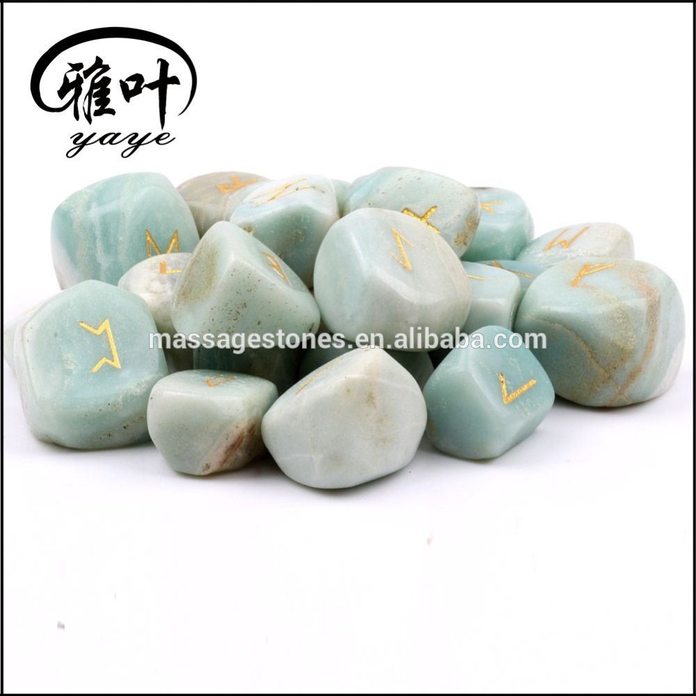 Natural Engraved Rune Set Amazonite Tumbeld Stone Set