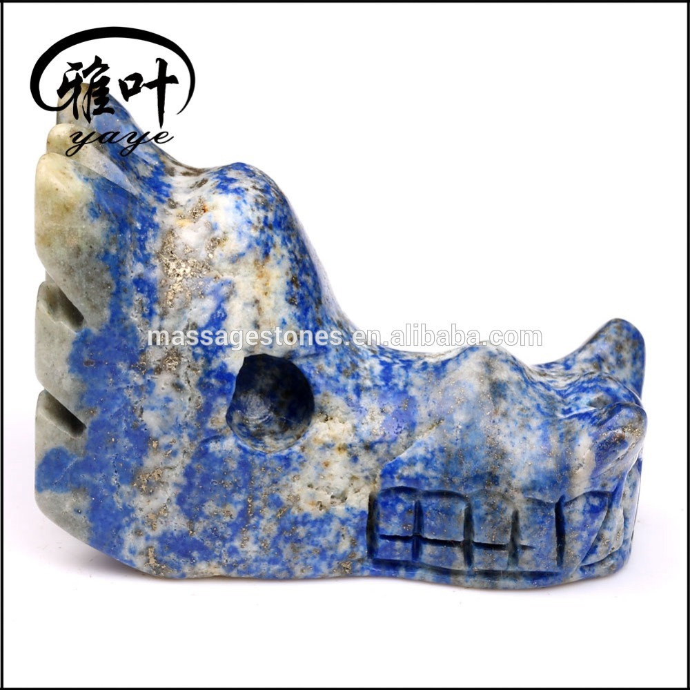 Lapis Lazuli Carvings Sculpture Animal Dragon Head Skulls