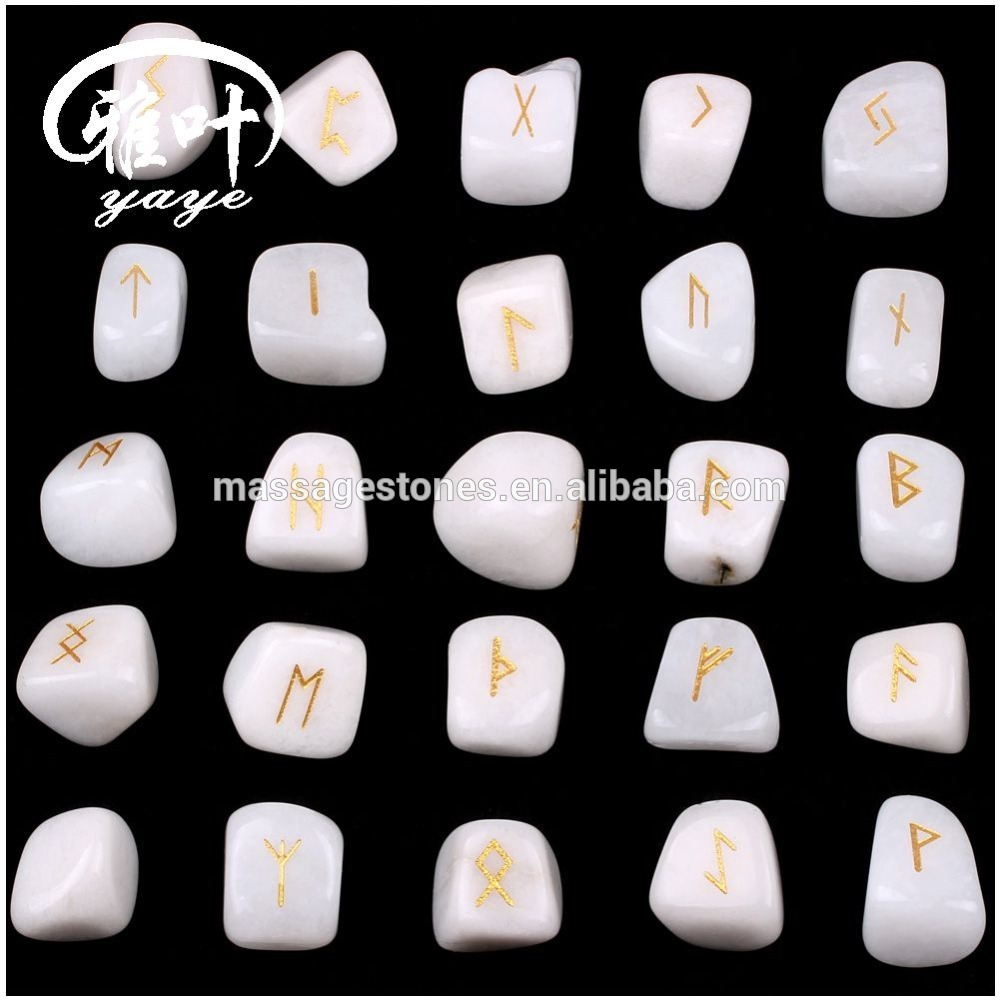 Wholesale Engraved White Jade Rune Tumbled Stone Set